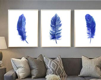 feather art print feather blue feather wall art feather watercolor painting feather print feather poster Indigo feather feather minimalist