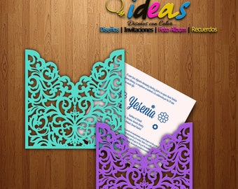 About wedding invitation, over XV years, wedding invitation, laser cut, files (SVG, DFX, AI, Corel), Laser cut, Silhouette cameo