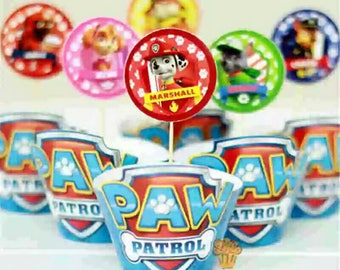 24 Paw Patrol Cupcake or Muffin Toppers and Wrappers. Party toppers and wrappers. Colorful wrappers.