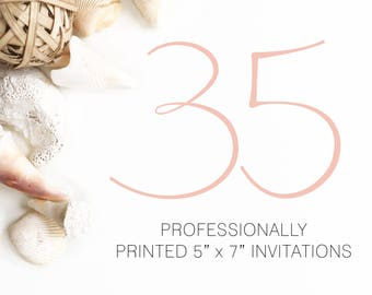 35 Professionally Printed Invitations White Envelopes Included And Free US Shipping, Printed Invitations
