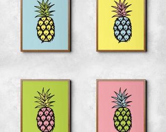 Pineapple, wall art, digital prints, colourful, digital art, wall décor, scandinavian print