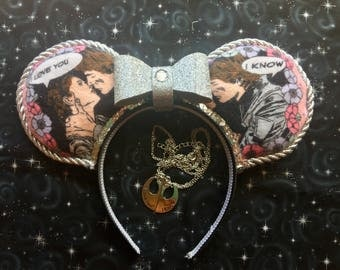"""Star Wars - """"Han Solo and Leia"""" ears  version 2 with sequin trim"""