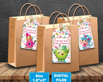 Shopkins thank you tags, shopkins birthday decor, shopkins party supplies, shopkins label,shopkins printable favor,shopkins instant download