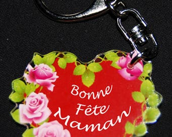 "Heart key chain of flowers message ""Happy mother's day"" for mother's day"