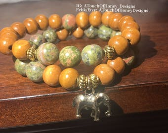 Unakite Stacked Bracelet with Elephant Charm