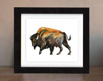 art, bison, buffalo, original, paintings, original art, gift, bison painting, wall art, decor, spirit, totem, animal, wild, saltwatercolors