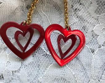 1980's Dangling Heart Earrings