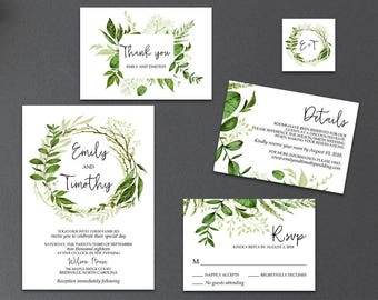 4-Piece Suite-Greenery Wedding Invitation Templates, Printable Garden Foliage Wreath Wedding Invitation Suite (Emily), Editable Text