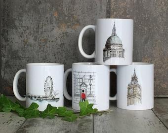 London Mug Set, British Mug, British Decor, London Gift Mug, Made in England, British Gift, London Souvenir