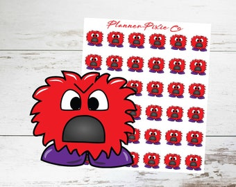 Monster Planner Stickers // Mad // Upset