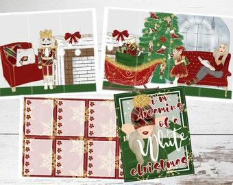 """Deluxe Kit // Weekly Sticker Kit // For Use With Erin Condren or Happy Planner // """"White Christmas"""""""