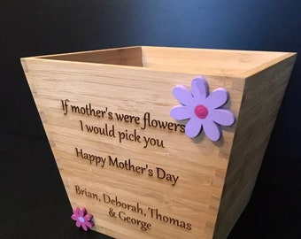 Personalised Wooden Plant Pot