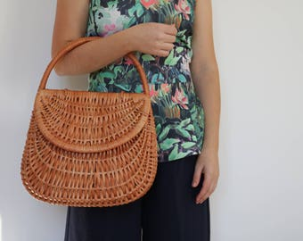 Wicker basket - large, gondola basket, wicker bag, basket bag, cesta de mimbre, weidenkorb, panier en osier, panier gondole, korgväska.