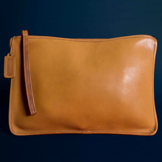 British Tan Slim Clutch Large