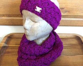 Handmade Crocheted Headband and Scarf Set, Handmade Winter Set, Scarf and Headband Set, Infinity Scarf Set