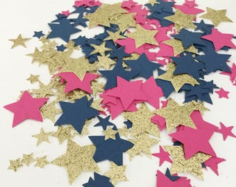 Confetti, Hot Pink Navy Gold Star Confetti, Table Confetti, Party Confetti, Party Decorations, Table Scatter, Party Supplies, Die Cut Star