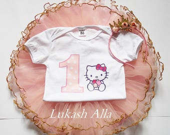 Pink & Gold Hello Kitty Outfit-Pink and Gold 1st Birthday Outfit-Hello Kitty Birthday Tutu Set-First Birthday Outfit-Hello Kitty Tutu