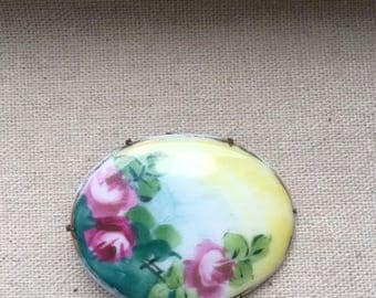 Antique Hand Painted Rose Brooch