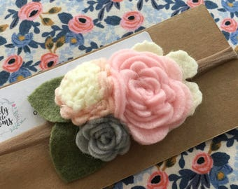 Felt Flower Cluster Hairband, Nylon Hairband, Girl Headband, Wool Felt Flower, Hair Accessories, Spring Hair Accessories