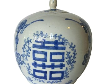 chinese ginger jar pottery blue and white vintage large
