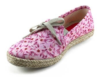 Barcelonetta Women Fashion Sneakers Pink Slip On Shoes Floral Rose Red
