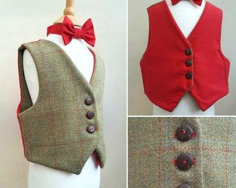 Boys Reversible Tweed Waistcoat, Made in Johnstons of Elgin Estate Tweed, Smart Outfit, Tartan, Check Waistcoat, Page Boy, Bespoke, Scottish