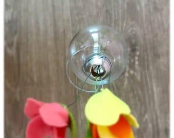 Unique Flower Vase made from upcycled lightbulb modern decor decorative vase flower vase felt flower vase ready to ship