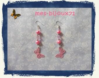Pendant earrings pink butterfly - long earrings - glass beads
