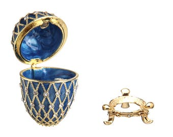 Russian Faberge Style Egg / Trinket Jewel Box with Grid 7cm (2.8'') blue
