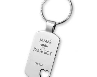 Engraved PAGE BOY keyring wedding gift, heart cut out keyring - 5583MU5