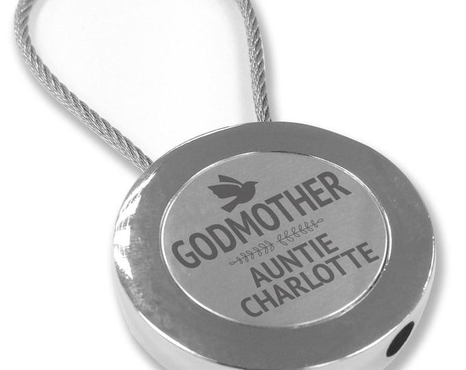 Personalised engraved GODMOTHER keyring christening baptism gift, round keyring metal cable - RRG1