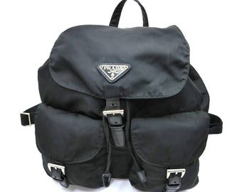 Authentic PRADA Backpack double pockets Black