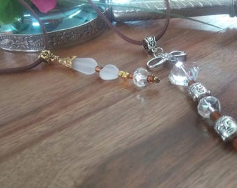 Choker, Crystal, glass Pearl, trendy, crew neck Suede, gold and silver