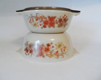 Vintage Pyrex JAJ Harvest Spray set of 2 casseroles made in England with one lid