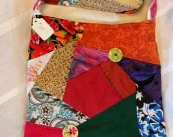 Handmade crazy quilt shoulder tote bag