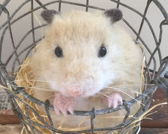 Needle Felted Hamster,Felted Animal,Handmade