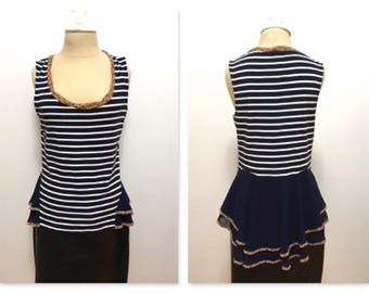 Sleeveless Navy and white striped tank top with navy chiffon cascading peplum , floral piping