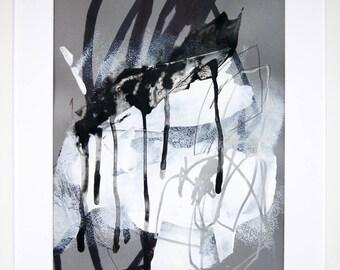 Original abstract illustration, no. 0655, mixed media on paper, 35x50cm. 2017