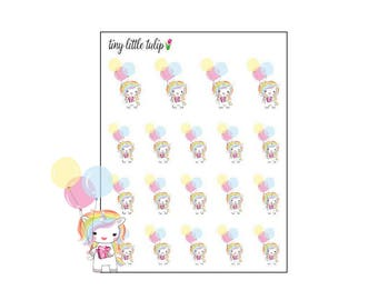 Planner Stickers Rainbow Unicorn Birthday/Balloons