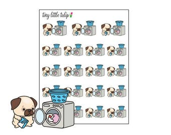 Planner Stickers Pug Laundry