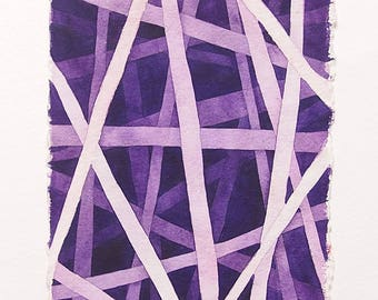 Minimal art in watercolor, monochrome watercolor abstract, affordable  art gifg, perfect gift for art lovers, purple abstract painting.