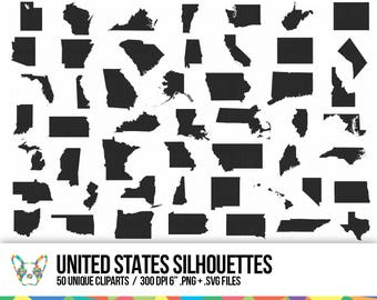 United States Clipart Collection State Shapes Vector Map Clipart Usa Vector Pack
