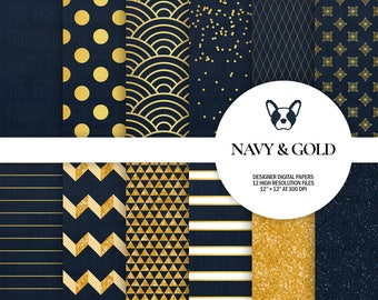 Navy & Gold Digital Papers, Luxury Digital Paper, Gold Pattern, Glitter Digital Paper, Scrapbooking Papers