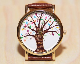 Watch the tree of life, women's watch, men's watch, family watches, Handmade Watch