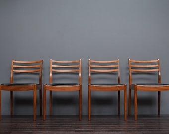 Set of 4 Vintage Retro Mid Century Danish Style G Plan Teak & Leatherette Dining Chairs