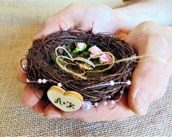 Personalized ring bearer box Nest ring pillow Wedding ring box Engagement ring box Ring bearer nest Bird nest ring box