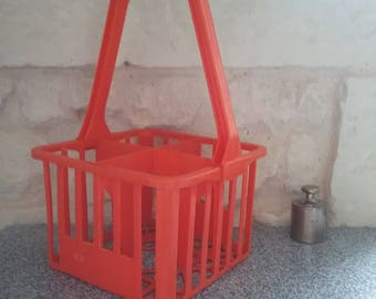 Vintage bottle rack with 4 plastic orange - retro kitchen storage bins / 70s
