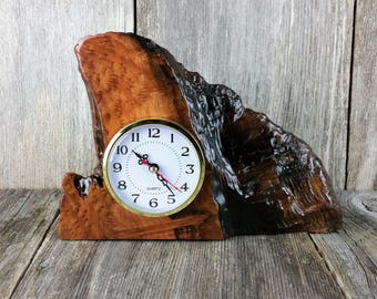Redwood Burl Clock Table Shelf Mantle Desk Office Gifts for Men Sitting Wood