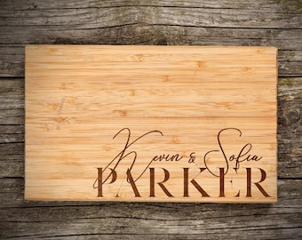 Personalized Cutting Board, Last Name & Names - Engraved Bamboo Cutting Board, Wedding Favor, Wishlist, Wedding, Christmas, Housewarming
