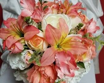 Fall,Bridal,Rhinestone, Boutonniere,Silk Flowers,Orange,Coral Peonies,Autumn,Ivory,Off White Roses,Peach Lilies,Greenery,Wedding Bouquet
